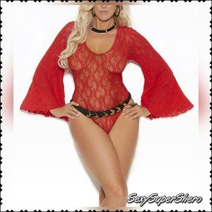 🆕PLUS❤Sexy Lace Bell Sleeve Teddy Lingerie top